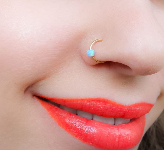 Opal Fake Nose Ring
