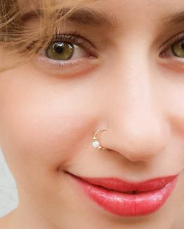 White Opal Fake Nose Ring