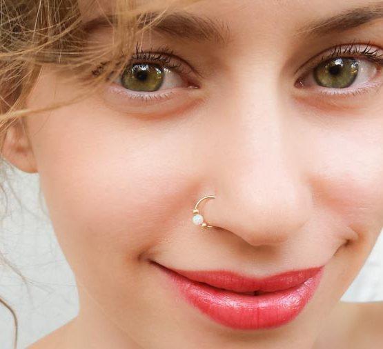White Opal Fake Nose Ring
