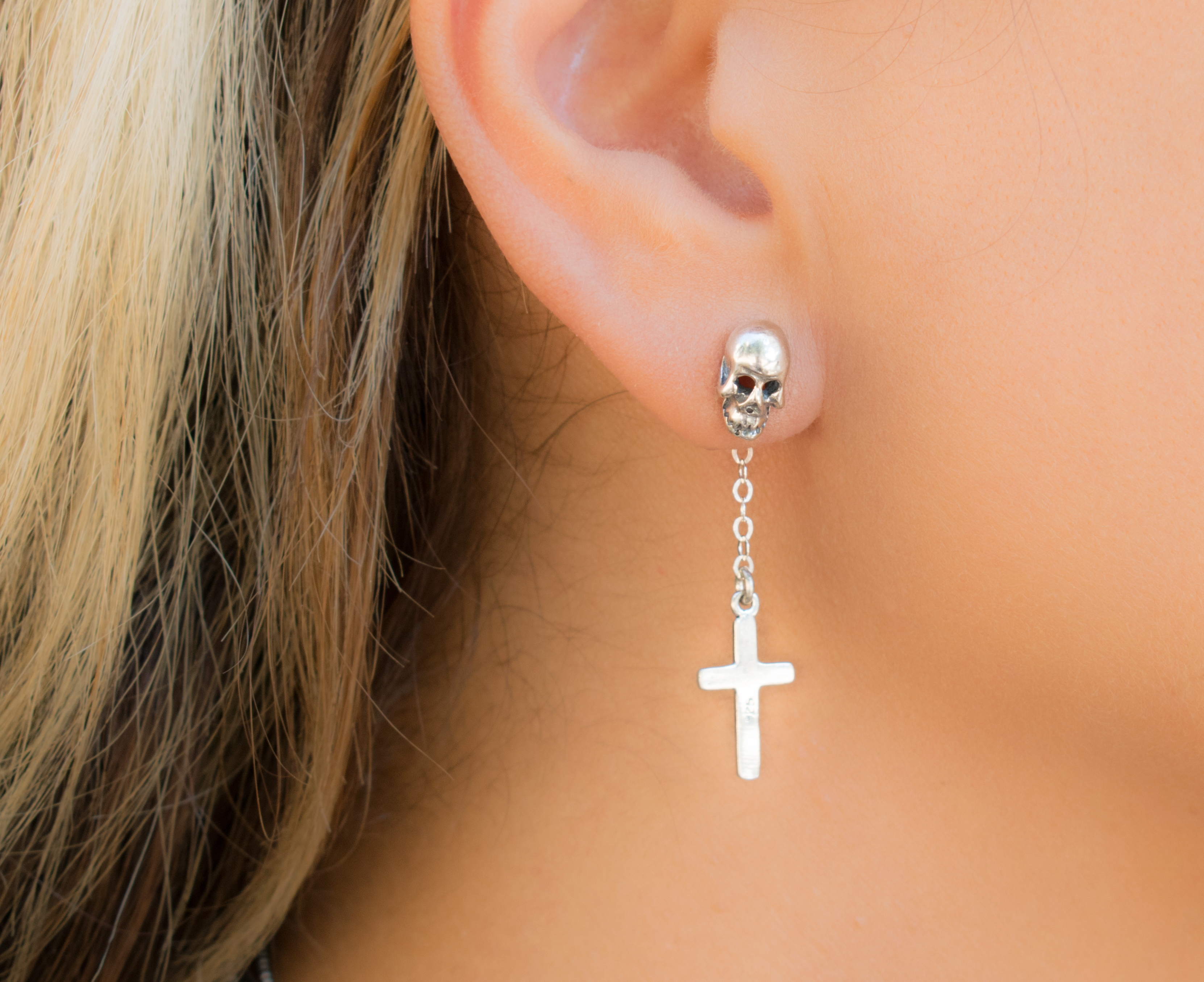 Cross And Skull Goth Earring
