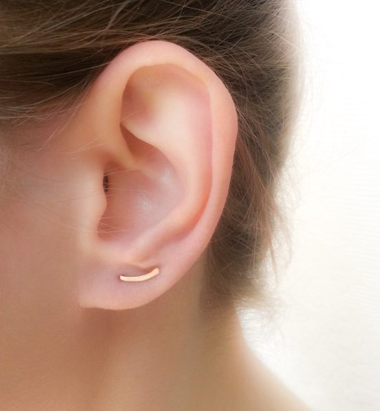 Tiny curved bar earrings