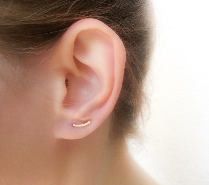 Tiny Curved Bar Earrings