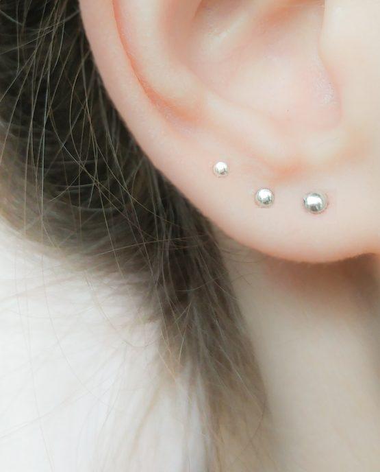 Tiny Stud Earrings Set Sterling Silver