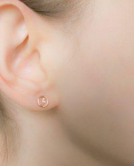 tiny rose quartz earrings