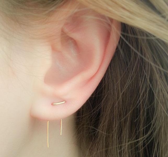 Double Piercing Earrings Threader Earrings Moonli Designs