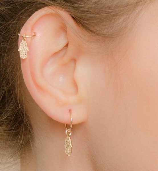 Dangle Hamsa Helix Hoop