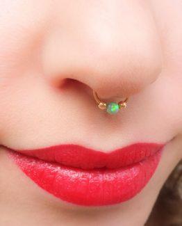 Opal Nose Hoop