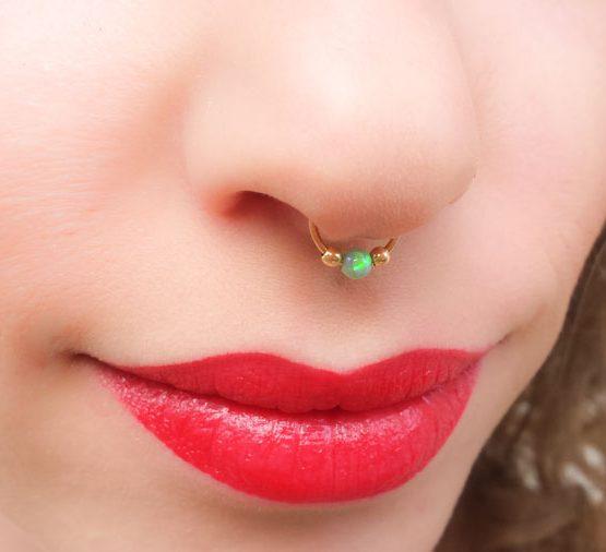 Opal Fake Septum Ring Moonli Designs