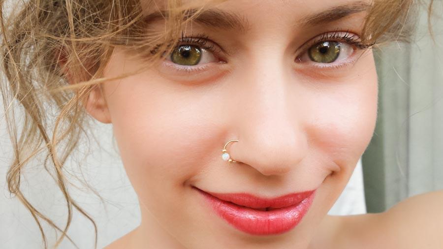 Opal Nose Ring Hoop Moonli Designs