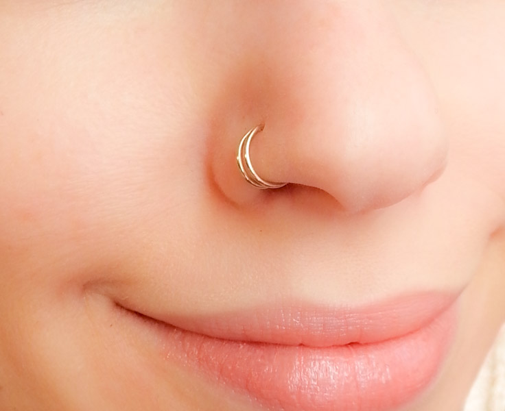 Double Nose Cuff Fake Piercing Moonli Designs