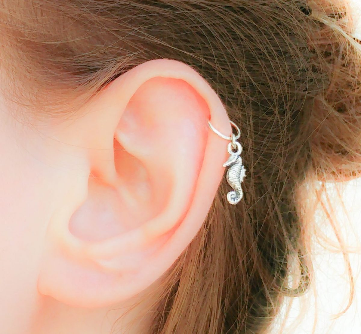 Seahorse Helix Earring Sterling Silver