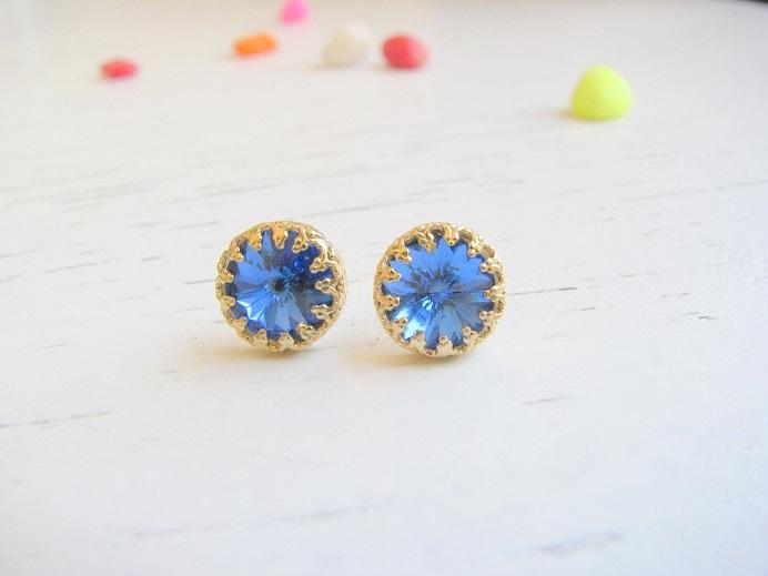Gold Earrings Blue Royal