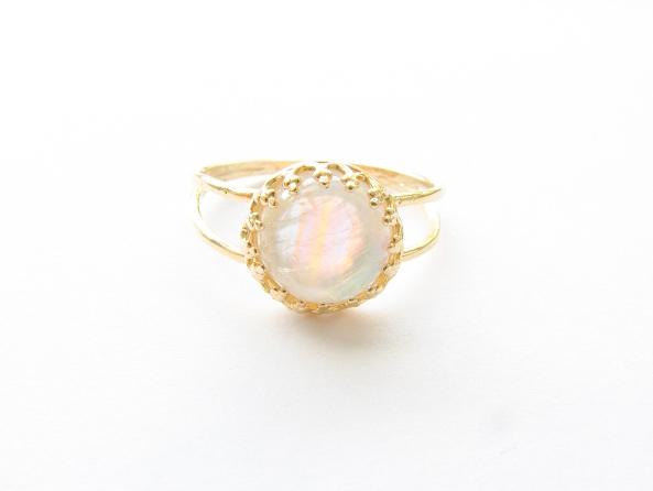 Moonstone rainbow ring