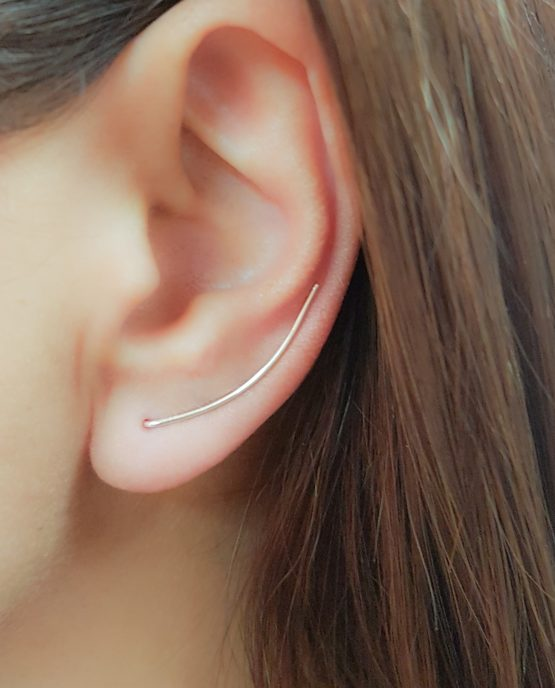 Curved Bar Ear Climber Earrings