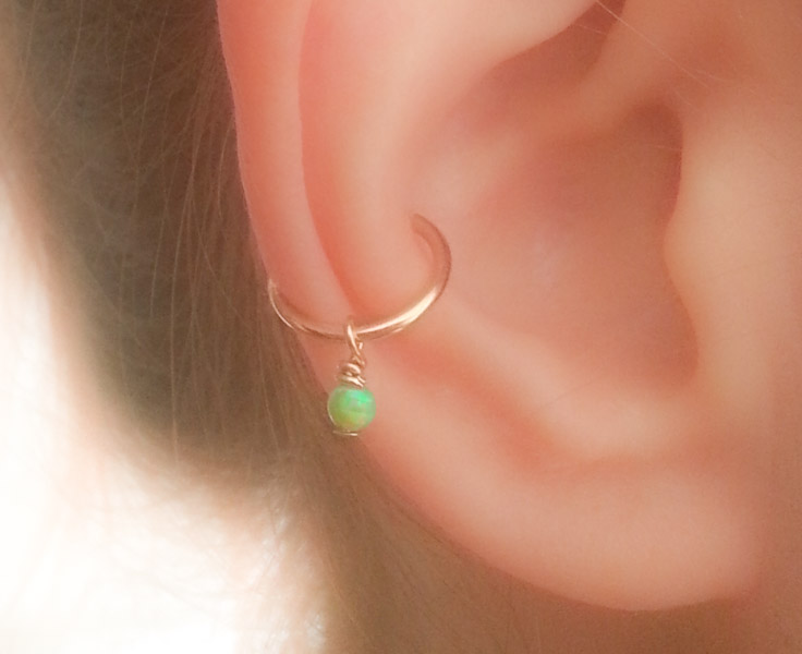 Thick Ear Cuff Opal Dangle