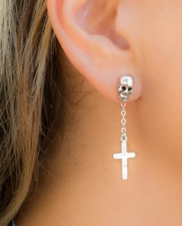 Cross and Skull Goth Earring