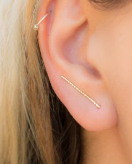 Gold Line Ear Climber Earrings
