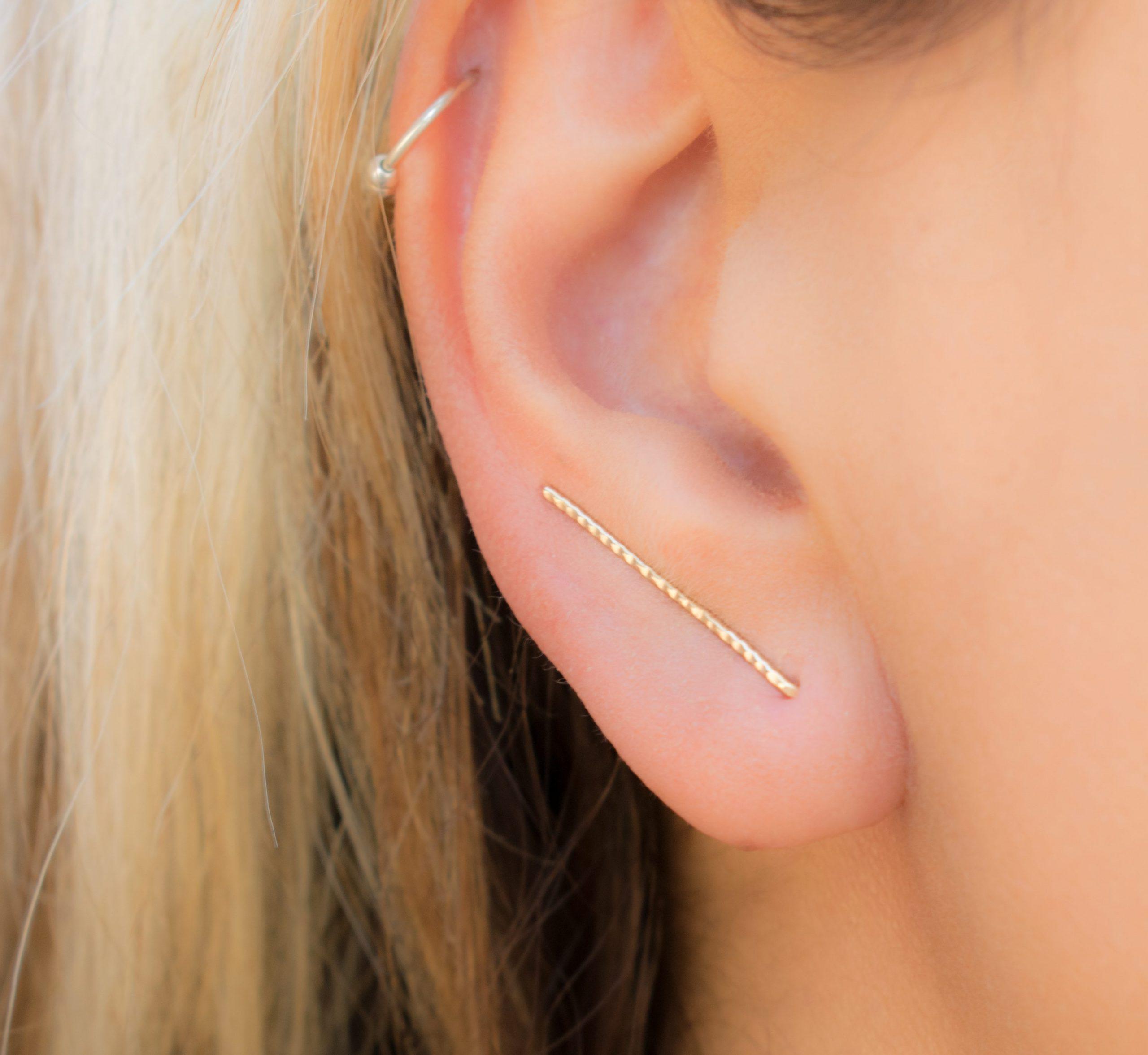 Gold Line Ear Climber Earrings