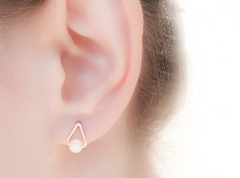 Rose Quartz Drop Studs