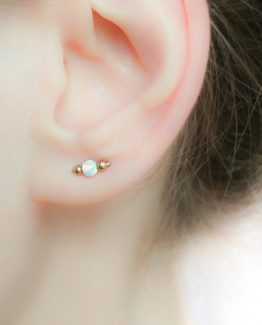 Double Piercing Opal Earring