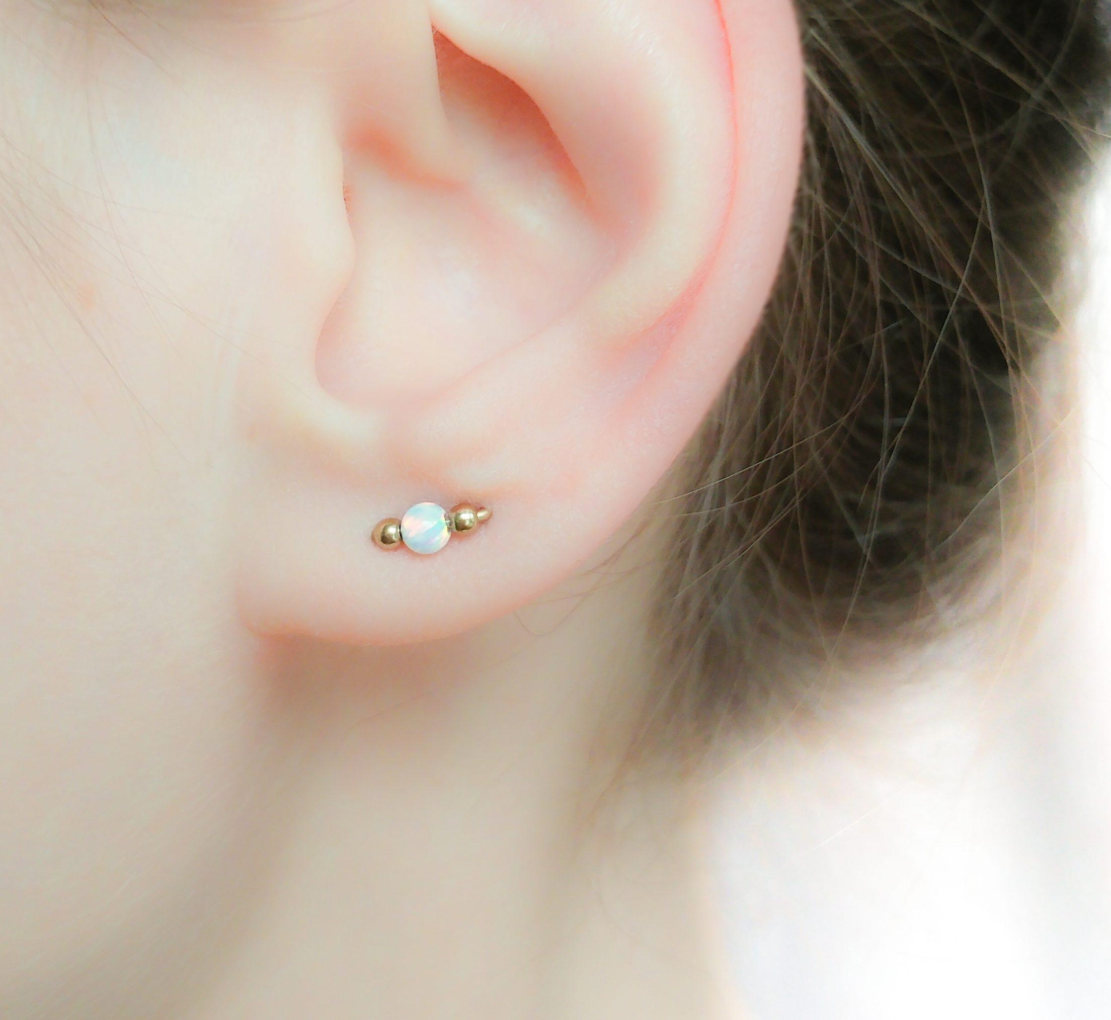 Double Piercing Opal Earring
