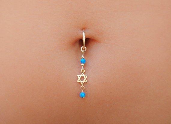 Star Of David Belly Button Ring Jewish Star Navel Piercing