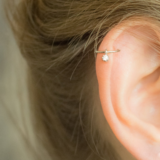 Helix silver cz dangle