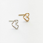 heart nose stud silver